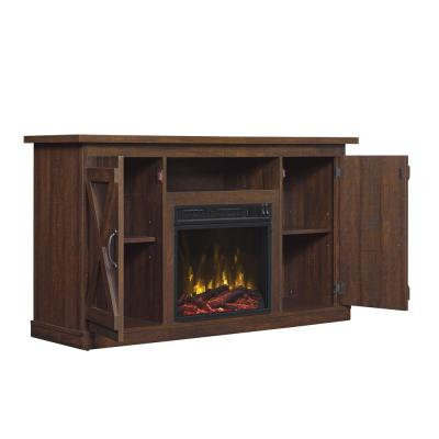 Cottonwood 47.50 in. Media Console Electric Fireplace TV Stand in Saw Cut Espresso