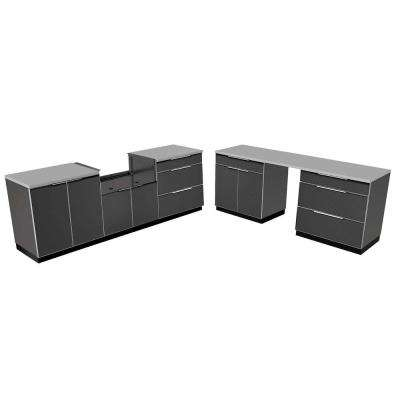 Aluminum Slate 9-Piece 184x36x24 in. Outdoor Kitchen Cabinet Set with Covers