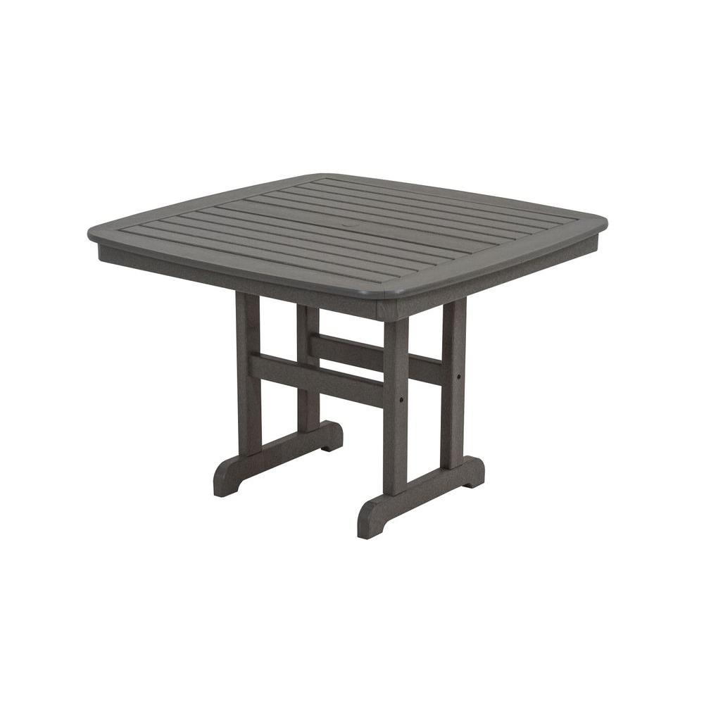 POLYWOOD Nautical 44 in. Slate Grey Patio Dining Table