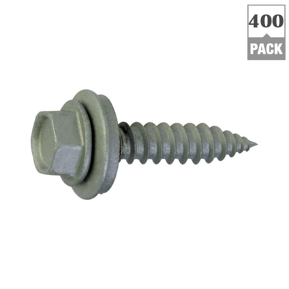 Teks #9 x 1-1/2 in. Hex-Head Roofing Screws (400-Pack)