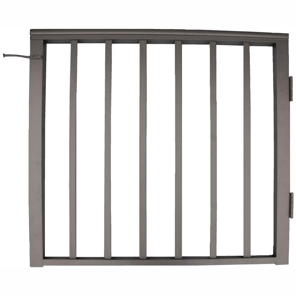 EZ Handrail 36 in. x 42 in. Bronze Pre-Built Aluminum Single Panel Walk Through Gate with 1 in. Square Balusters
