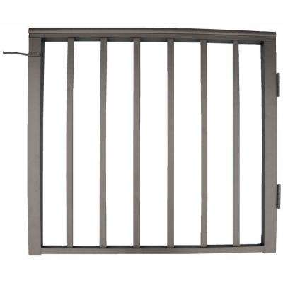 36 in. x 42 in. Bronze Pre-Built Aluminum Single Panel Walk Through Gate with 1 in. Square Balusters