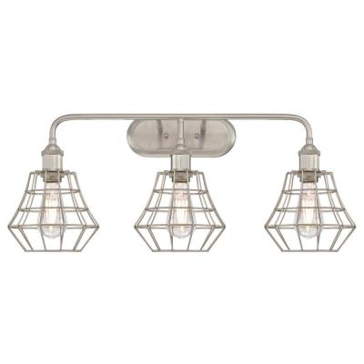Nathaniel 3-Light Brushed Nickel Wall Mount Bath Light