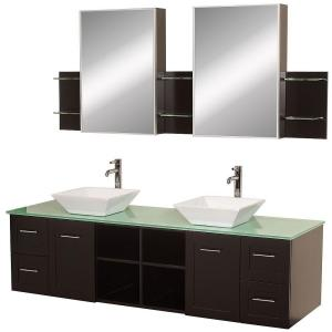 Wyndham Collection Avara 72 inch Vanity in Espresso with Double Basin Glass Vanity Top in... by Wyndham Collection