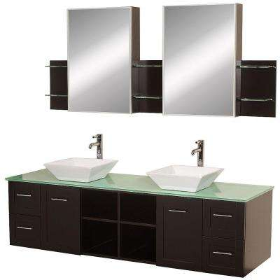 Avara 72 in. Vanity in Espresso with Double Basin Glass Vanity Top in Aqua and Medicine Cabinets