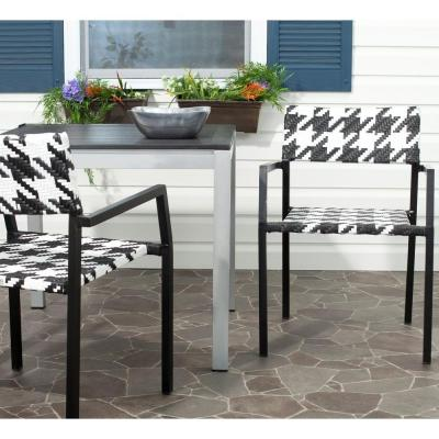 Halden White/Black Aluminum/Wicker Outdoor Dining Chair (2-Pack)