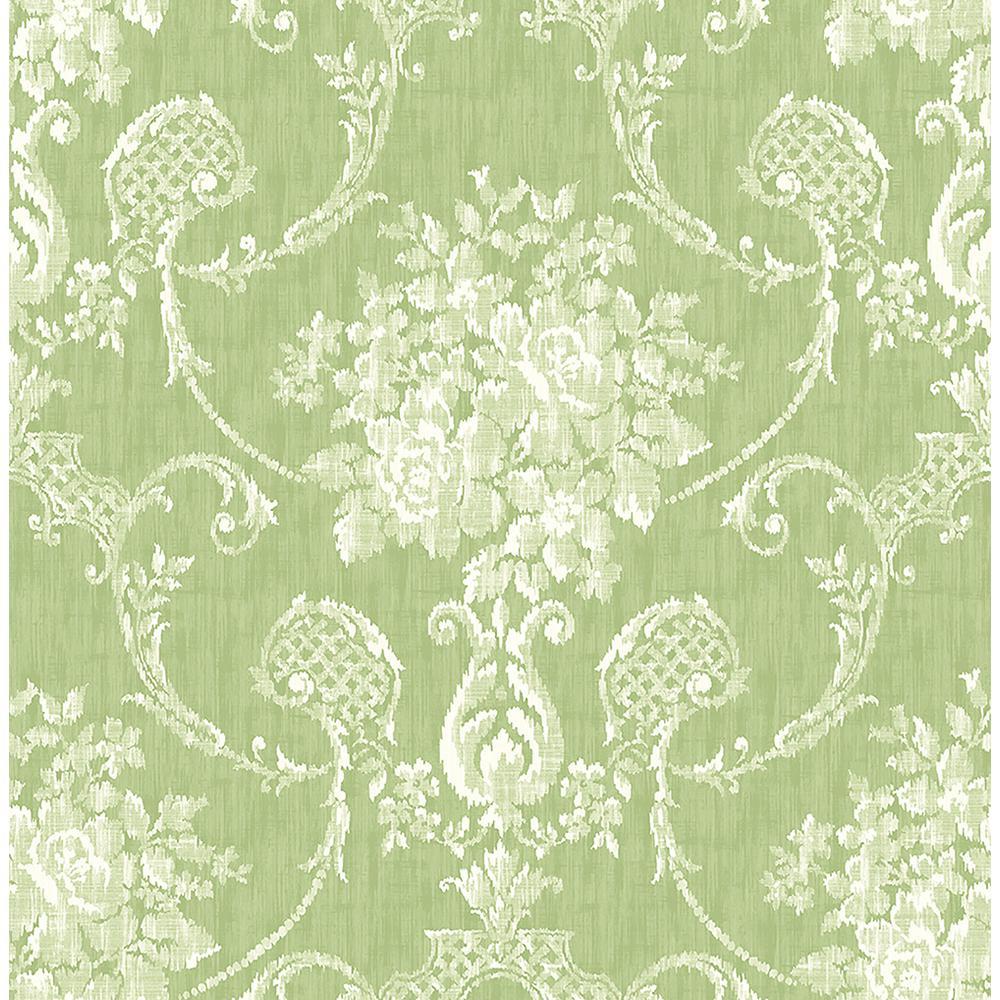 A street winsome green floral damask wallpaper 2702 22747 - Floral wallpaper home depot ...