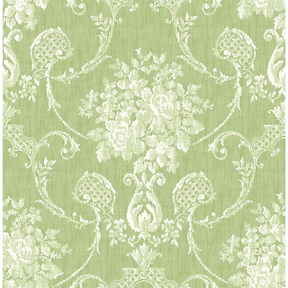 A street winsome green floral damask wallpaper sample 2702 for Wallpaper home green