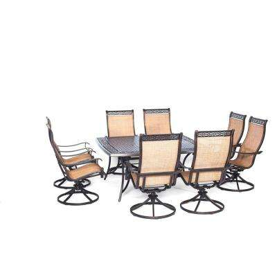 Manor 9-Piece Square Patio Dining Set with Eight Swivel Rockers