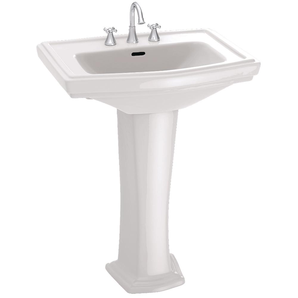 Toto Clayton 27 In Pedestal Combo Bathroom Sink With Single Faucet Hole In Cotton White Lpt780