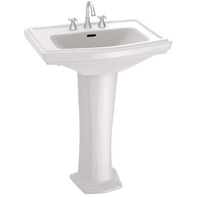 Clayton 27 in. Pedestal Combo Bathroom Sink with 8 in. Faucet Holes in Cotton White