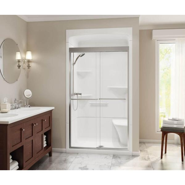 Maax Camelia 48 In X 34 In X 88 In Alcove Shower Stall With Center Drain Base In White 105920 000 001 003 The Home Depot