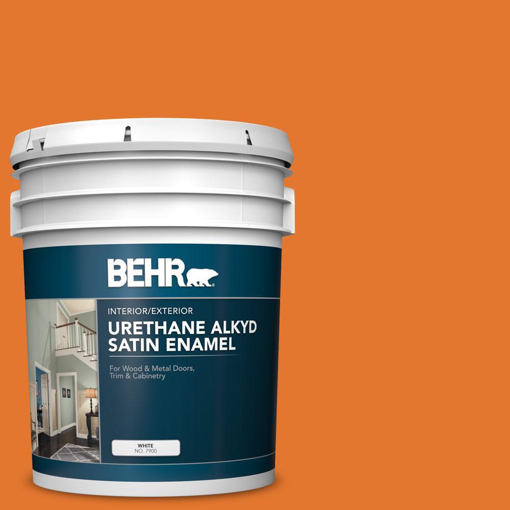 5 gal. #OSHA-3 OSHA SAFETY ORANGE Urethane Alkyd Satin Enamel Interior/Exterior Paint
