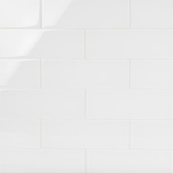 Contempo Bright White 4 in. x 12 in. x 8 mm Polished Glass Subway Floor and Wall Tile (15 pieces 5 sq.ft/Box)