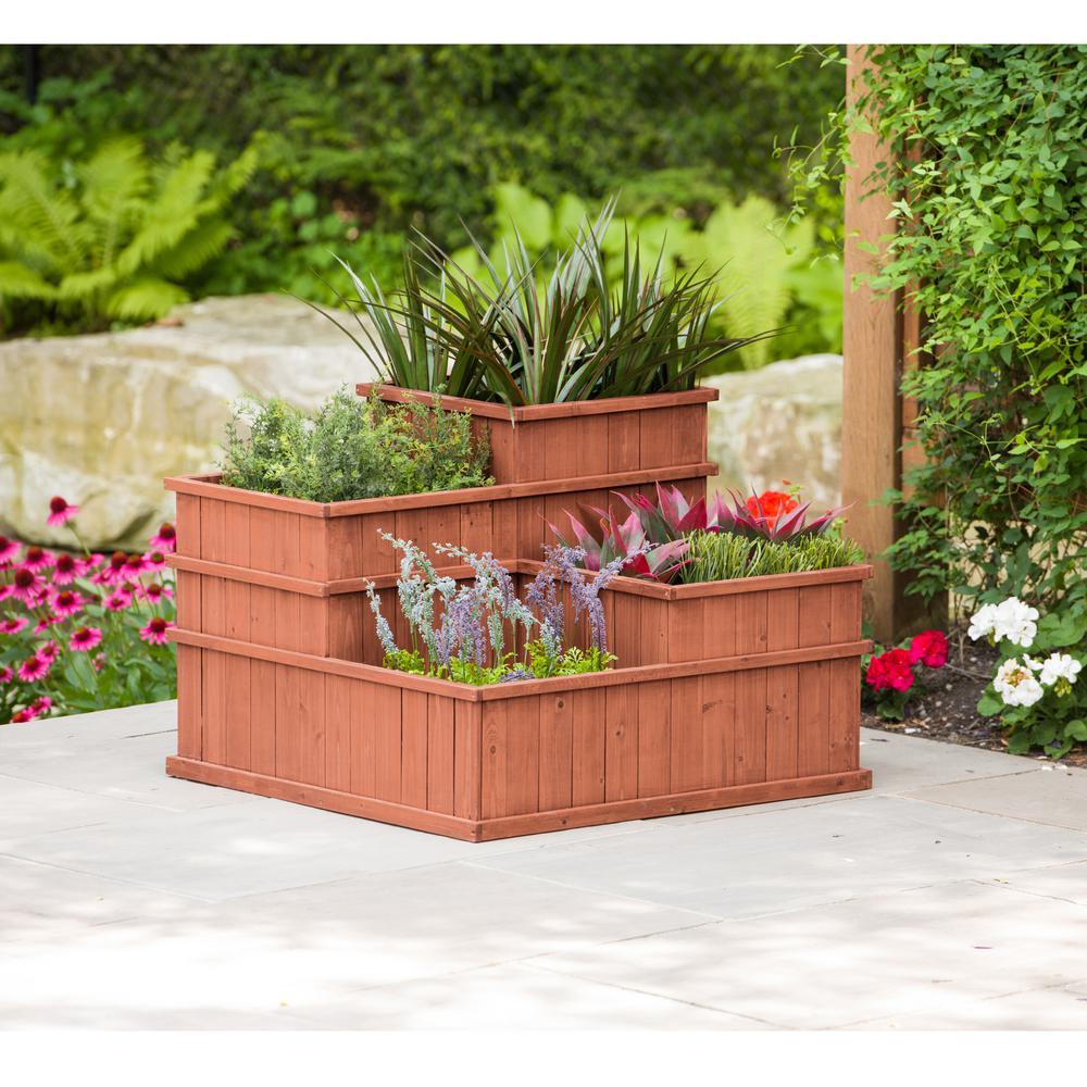 Leisure Season Wooden Multi Level Planter on vermont garden, newcastle garden, amsterdam garden, paris garden,