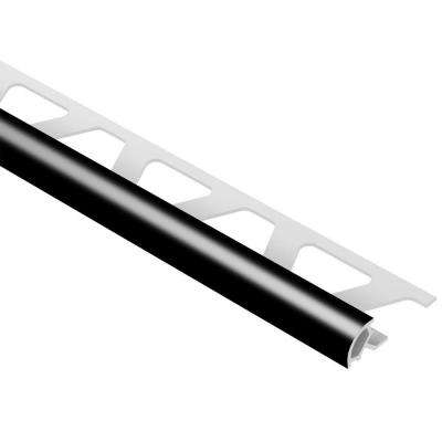Rondec Black 3/8 in. x 8 ft. 2-1/2 in. PVC Bullnose Tile Edging Trim