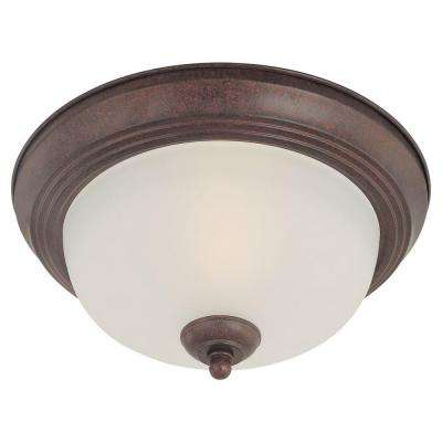 2-Light Colonial Bronze Ceiling Flushmount