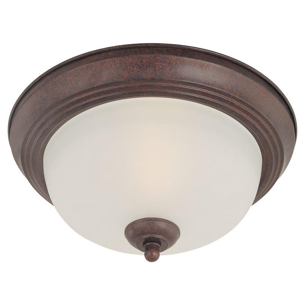 2-Light Colonial Bronze Ceiling Flushmount