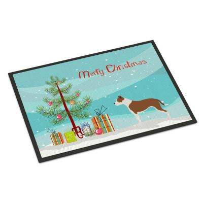 18 in. x 27 in. Indoor/Outdoor Pit Bull Terrier Christmas Door Mat