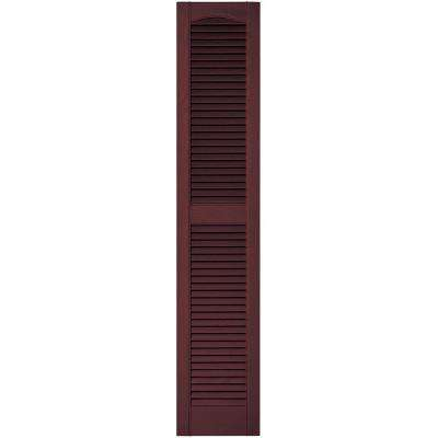 12 in. x 60 in. Louvered Vinyl Exterior Shutters Pair in #167 Bordeaux
