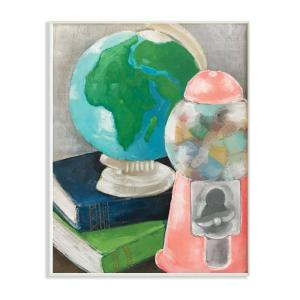 12 In X 18 In Watercolor Nostalgic Still Life Globe And Gumball Machine Wall Plaque Art By Cindy Willingham