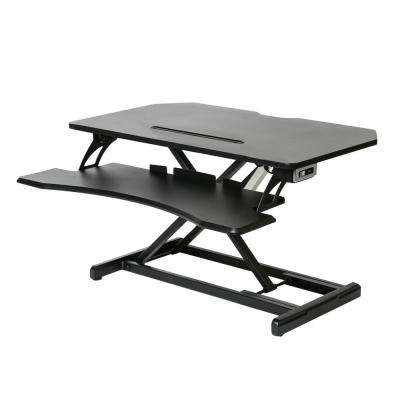 Airlift Black 33 in. Compact Ergonomic Electric Desk Workstation Riser Workstation w/2.1A USB Charger and Dual Monitor