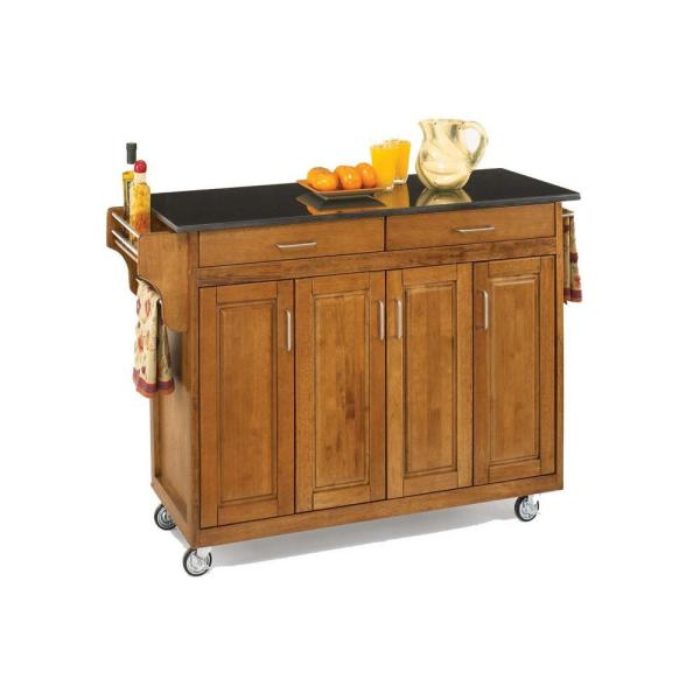 Create A Cart Warm Oak Kitchen Cart With Black Granite Top