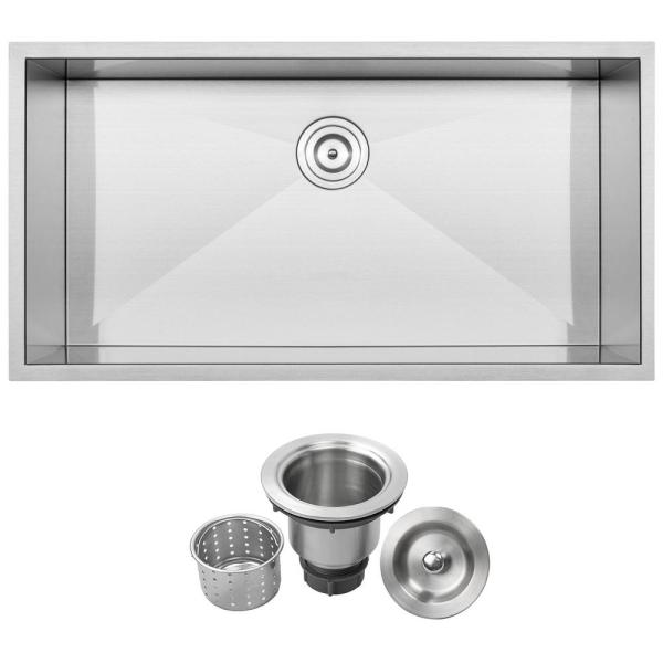 Ticor Pacific Zero Radius Undermount 16 Gauge Stainless Steel 28 In Single Basin Kitchen Sink With Basket Strainer S3680 The Home Depot