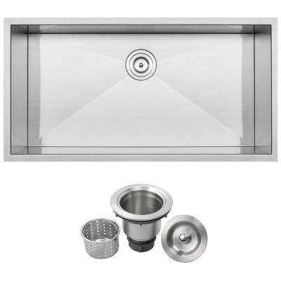 Pacific Zero Radius Undermount 16-Gauge Stainless Steel 36 in. Single Basin Kitchen Sink with Basket Strainer