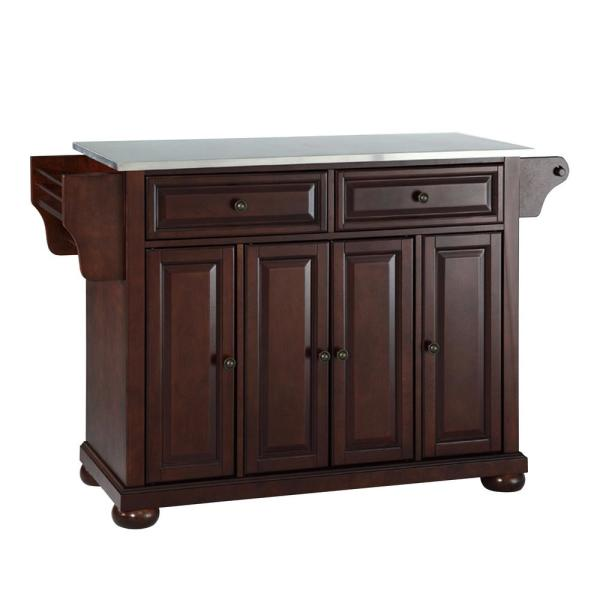 Alexandria Mahogany Kitchen Island with Stainless Steel Top