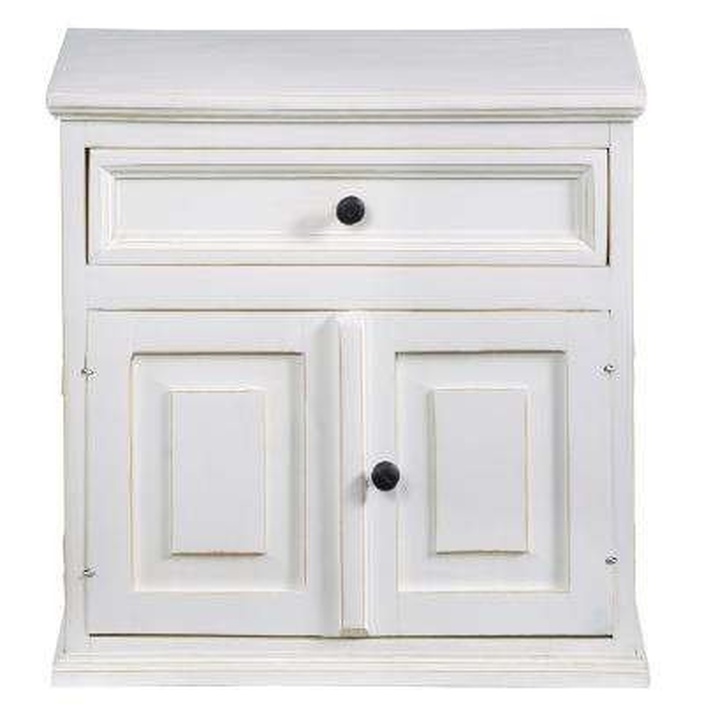 Carli 1-Drawer Vintage White Nightstand