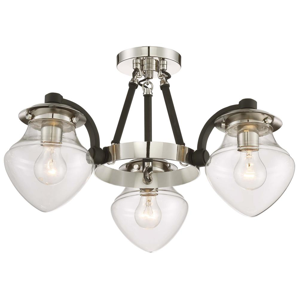 The Cape 3-Light Polished Nickel Chandelier