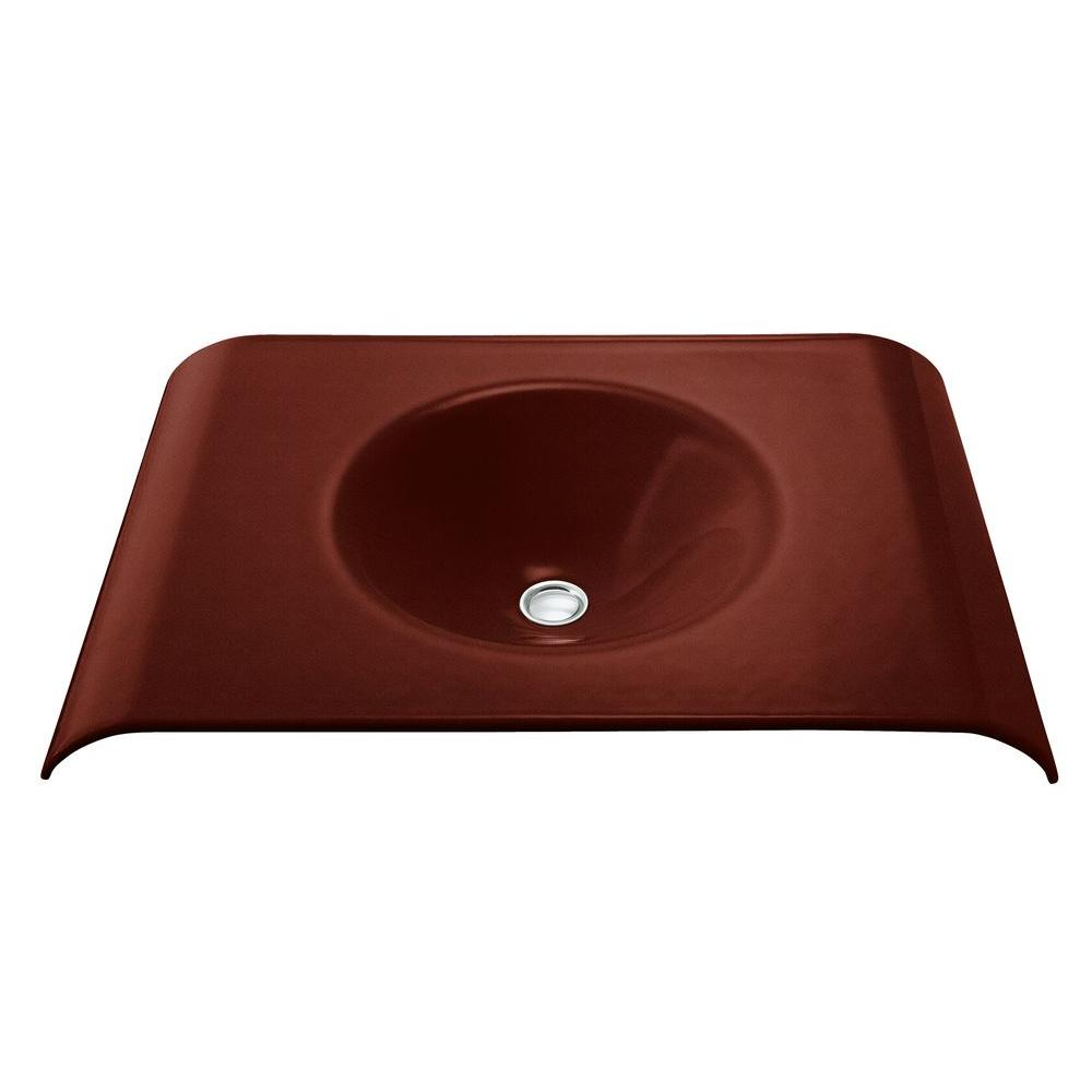 KOHLER Tableau Wall Mount Cast Iron Bathroom Sink In Ember