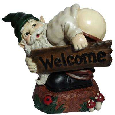 Mooning Gnome with Welcome Wood Sign Statue