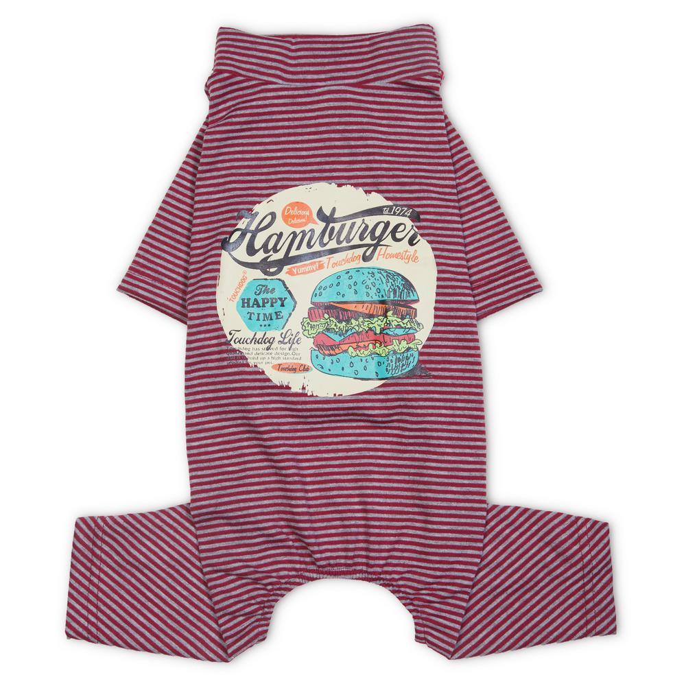Medium Red Onesie Lightweight Breathable Printed Full Body Pet Dog T-Shirt Pajamas