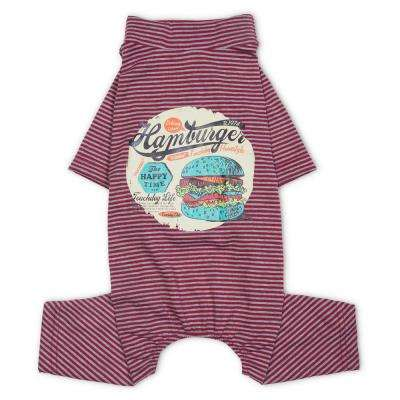 X-Small Red Onesie Lightweight Breathable Printed Full Body Pet Dog T-Shirt Pajamas