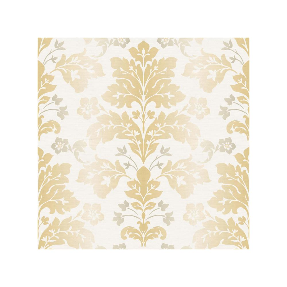 Beacon house fusion yellow ombre damask wallpaper 2535 for Yellow wallpaper home depot