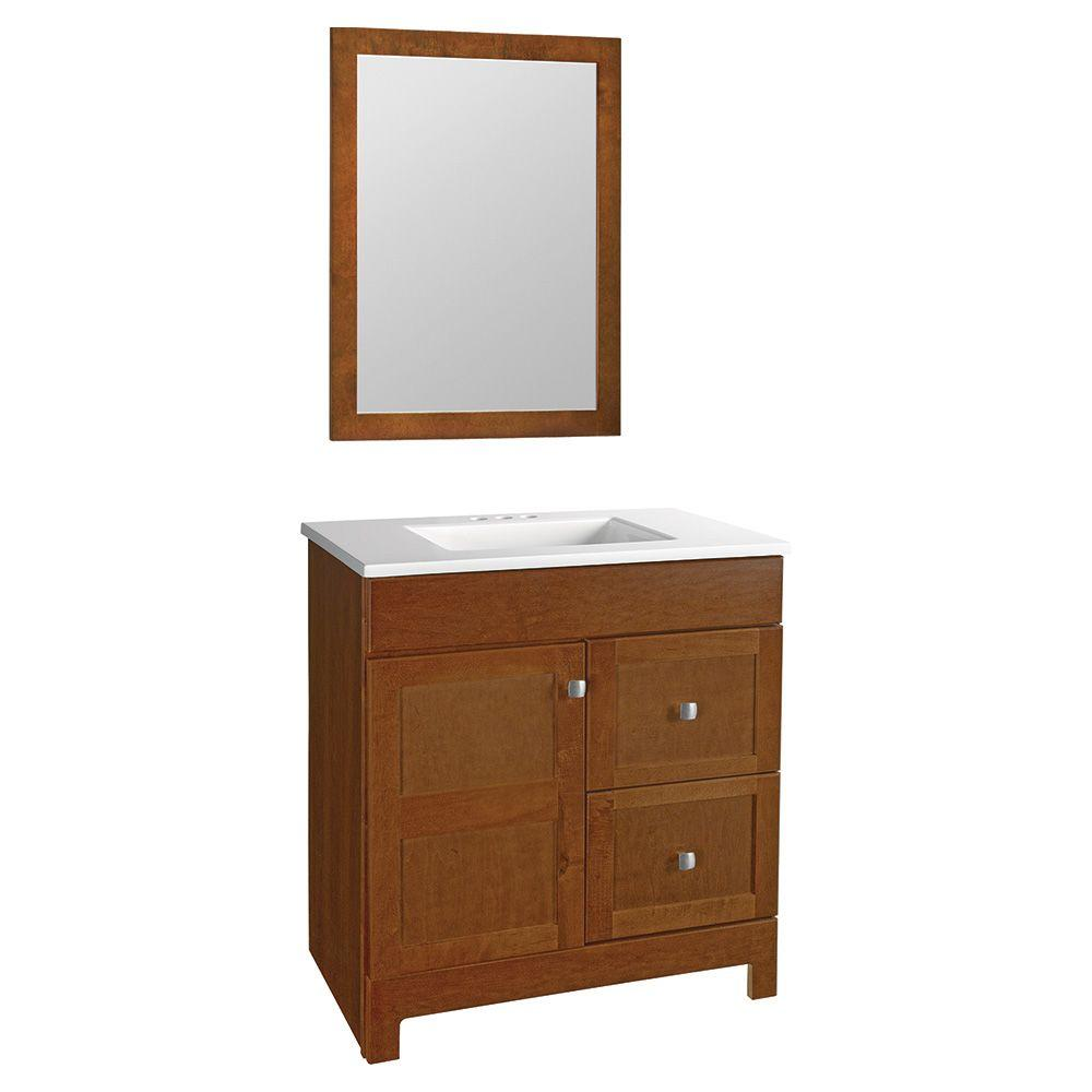 Glacier Bay Artisan 30.5 in. W Bath Vanity in Chestnut with Cultured Marble Vanity Top in White with White Sink and Mirror