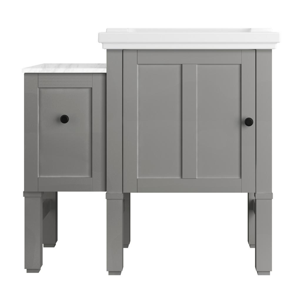 KOHLER Chambly 36 in. W Vanity in Mohair Grey with Ceramic Vanity Top in White with White Basin