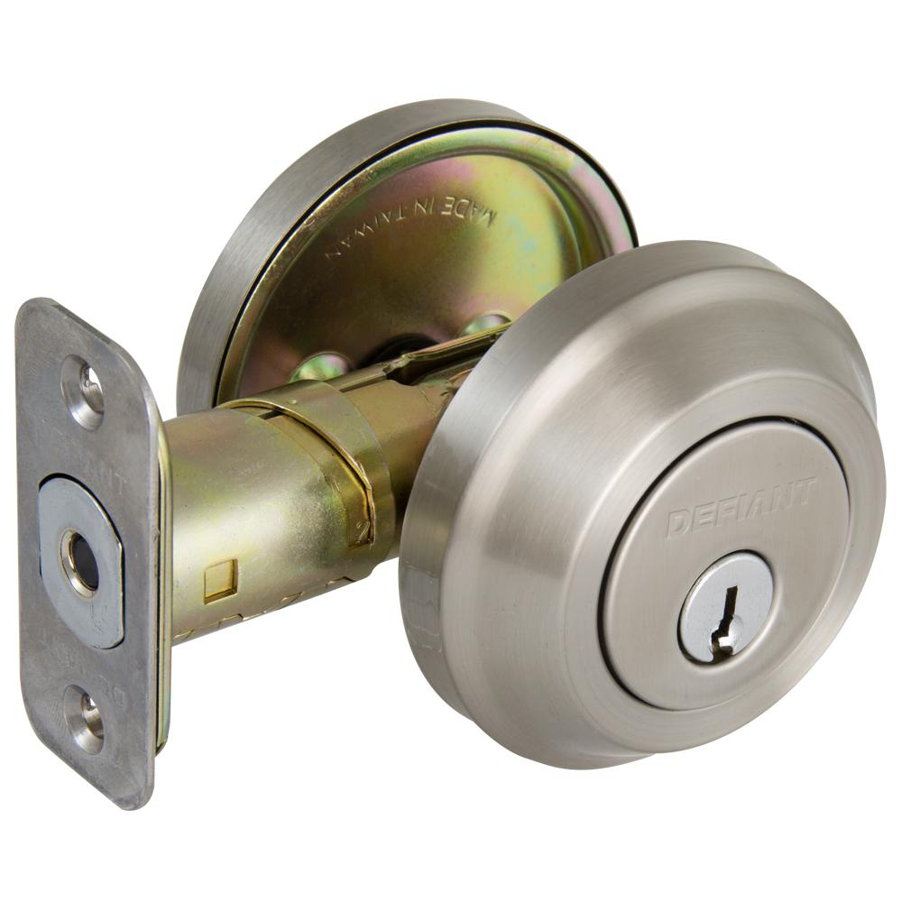 Contemporary Satin Nickel Single Cylinder Deadbolt