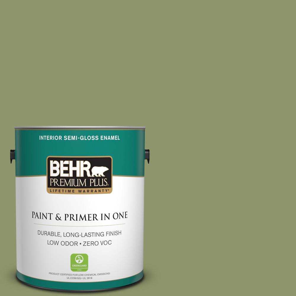 BEHR Premium Plus 1-gal. #410F-5 Boston Fern Zero VOC Semi-Gloss Enamel Interior Paint