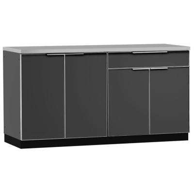 Aluminum Slate 3-Piece 97x36x64 in. Outdoor Kitchen Cabinet Set on Casters
