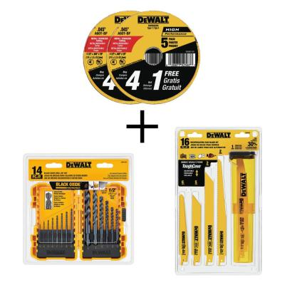 4-1/2 in. x .045 in. x 7/8 in. Metal & Stainless Cutting Wheel (10-Pk) w 14-Pc Drill Bit Set & 16-Pc Recip Saw Blade Set
