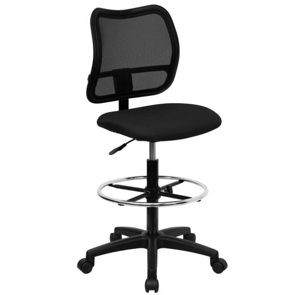 Flash Furniture Mid-Back Mesh Drafting Chair with Black Fabric Seat WLA277BKD
