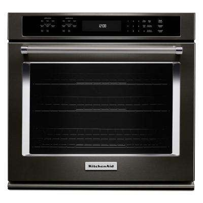 27 in. Single Electric Wall Oven Self-Cleaning with Convection in Black Stainless