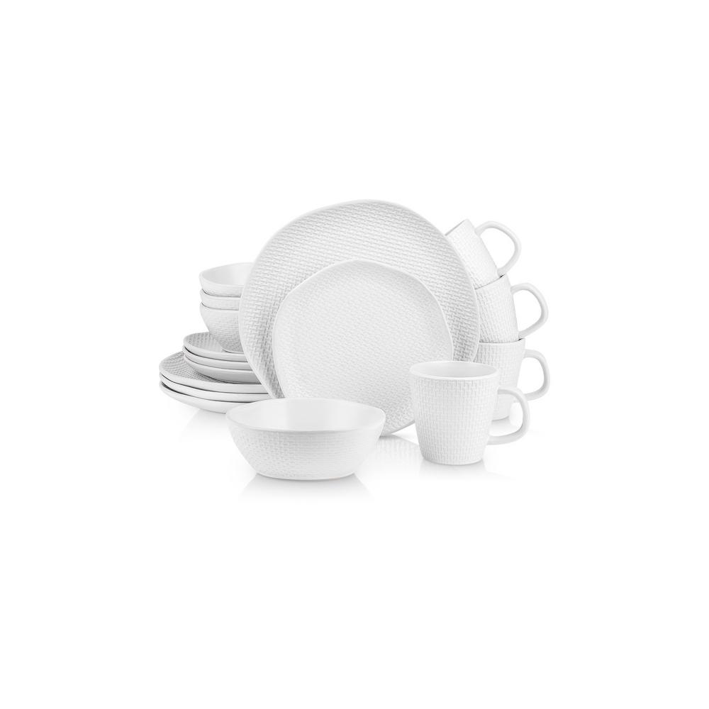 32-Piece Casual White Stoneware Dinnerware Set (Set for 8)