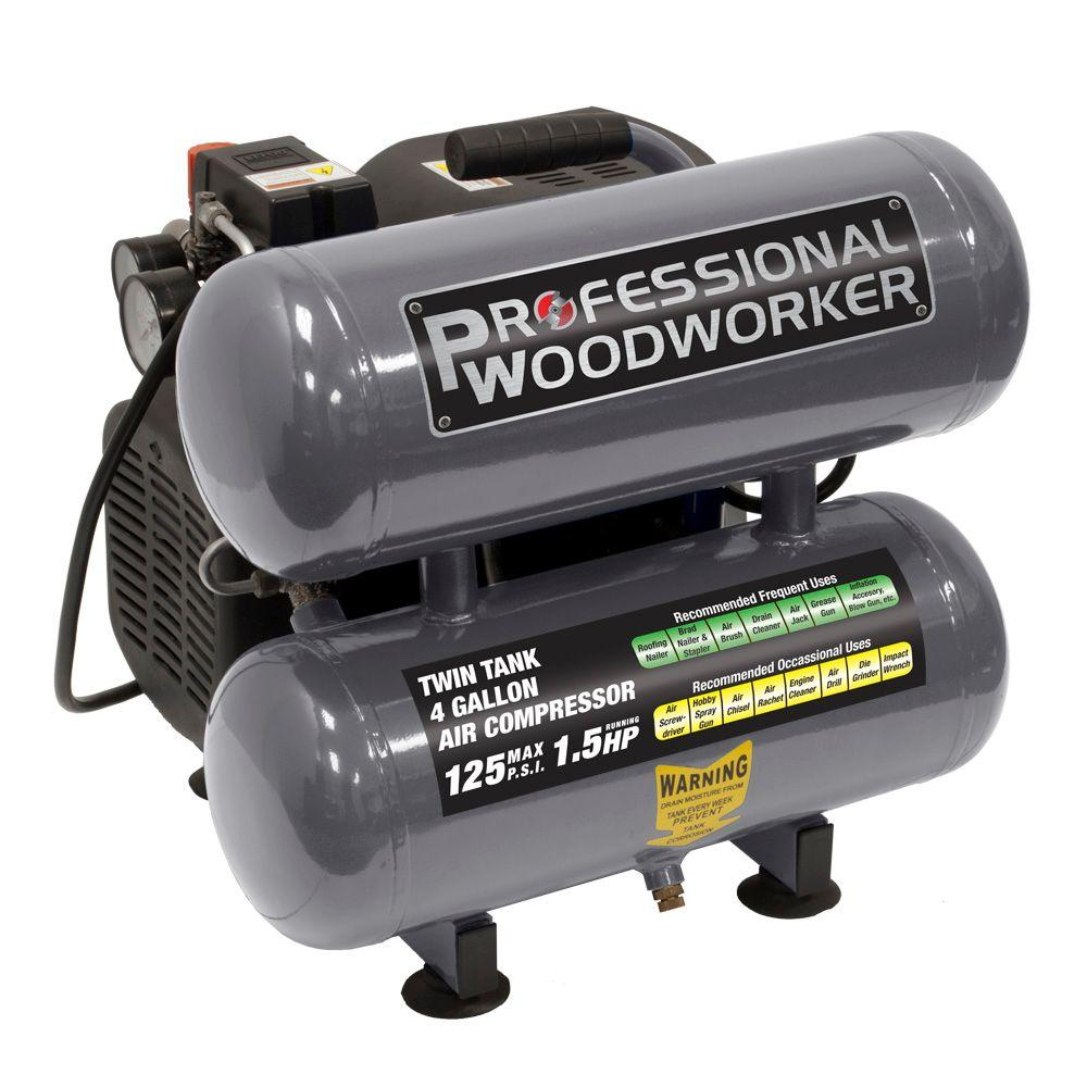 Professional Woodworker 4 Gal. Pro Duty Twin Stack Oil-Lube Air Compressor