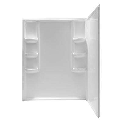 Lex-Class 60 in. x 36 in. x 74 in. 2-piece Direct-to-Stud Corner Shower Surround in White