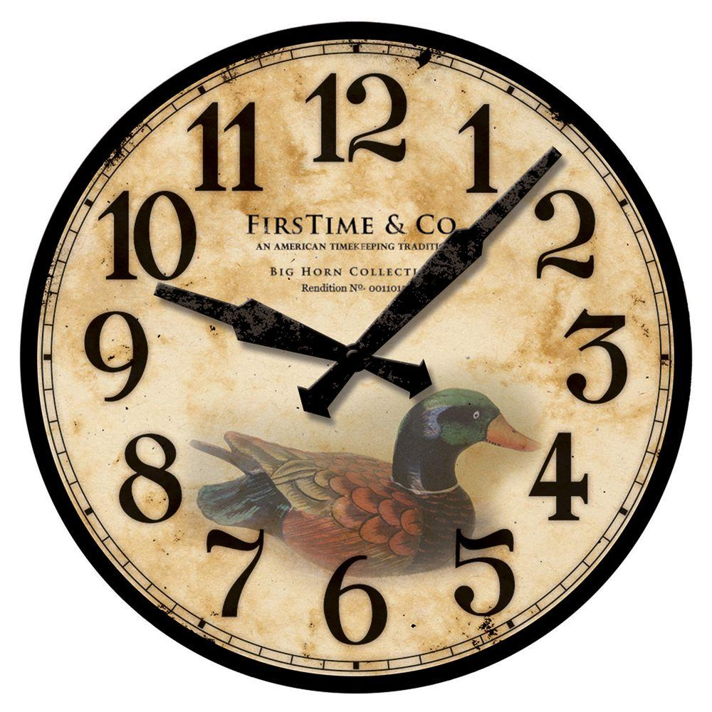 FirsTime 15.5 in. Square Duck Decoy Wall Clock