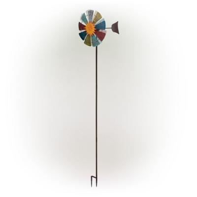 71 in. Sun Face Windmill Stake Kinetic Spinner Outdoor Yard Art Decor, Red, White, Yellow and Blue